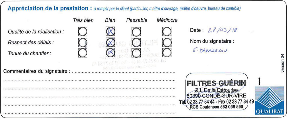 Attestation Qualibat Travaux Realisation Filtre Guerin Langlois Sobreti Bayeux