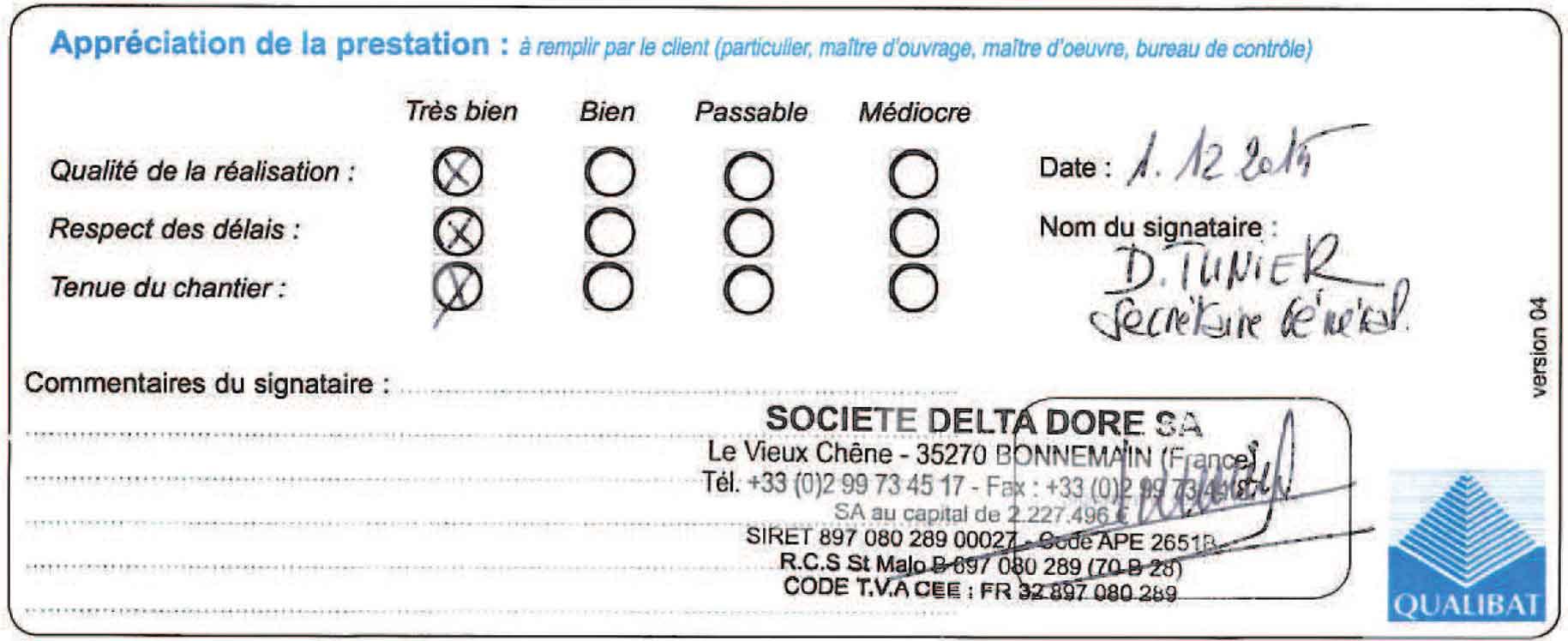 Attestation De Travaux Delta Dore Tinteniac Langlois Sobreti