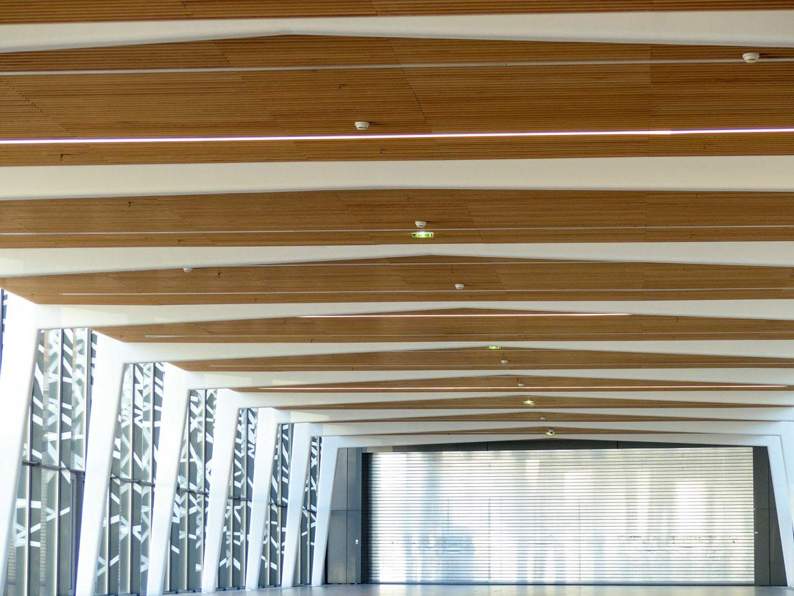 Langlois Sobreti Idf Porte Expo Versailles Hall Plafonds Suspendu Bois Laudescher Lauder Linea