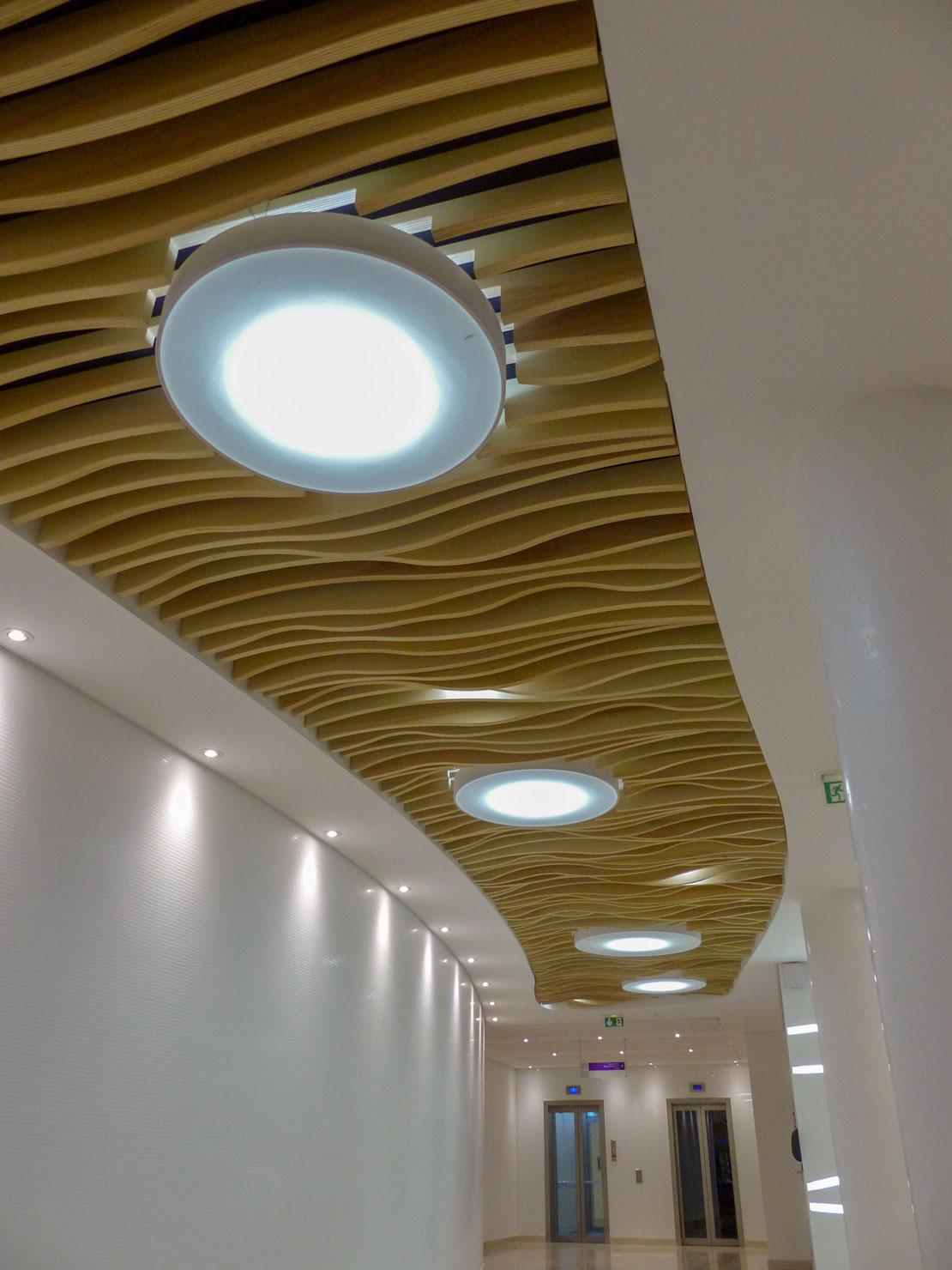 Langlois Sobreti Paris Solaris Faux Plafond Bois Luminaire