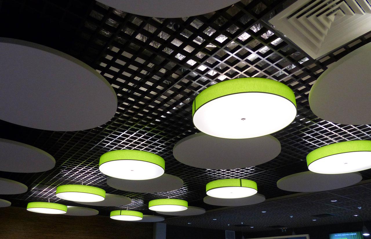 Langlois Sobreti Paris Solaris Plafonds Interieurs Resille Starlam Noir Ilots Acoustiques Cercles