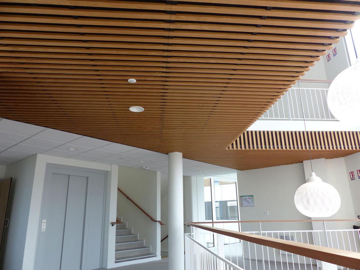 Langlois Sobreti Quimper Siege Cerfrance Plafonds Bois Insertion Luminaires Plafond Fibres