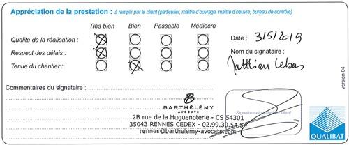 Attestation Qualibat Barthelemy Langlois Sobreti Rennes